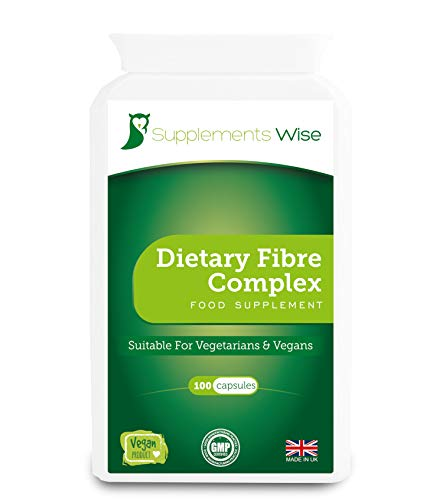 Dietary Fibre Complex - 100 Capsules - Provides Constipation Relief - Powerful Stool Softener - Soluble and Insoluble Blend of Psyllium Husk, Flaxseed Powder, Apple Pectin, Rhubarb, Prune and More