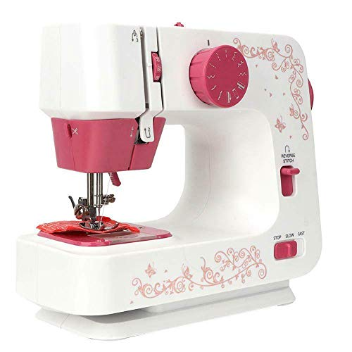 Simple Portable Sewing Machine, Including 12 Decorative Stitches, Drawer, Foot Pedal, Night Light, Automatic Needle Threader and Free Arm, Best Sewing Machine for Beginners