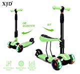 XJD Scooters for Kids Toddler Scooter with Removable Seat 3 Wheel Scooter for Boys Girls Adjustable Height PU Flashing Wheels Extra Wide Deck Scooter for Children from 2 to 8 Years Old Green