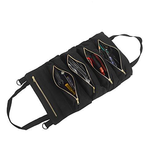 Bolsa de herramientas, Bolsa organizadora de herramientas enrollable de lona de lona con 5 bolsillos con cremallera para electricista, mecánico (Negro)