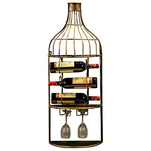 Dirgee Schmiedeeisen gekrümmte Wandmontierter Weinregal - Flaschenaufbewahrung schwarzer Satz von 3 Weinaufbewahrung mit Etikett Forward Design, unter den beiden Weingläsern