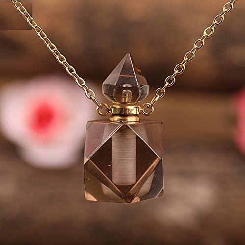 JIAQ Collar con colgante de cristal de cuarzo y amatista natural facetado, con diseño de botella de perfume de oro, para mujer, difusor esencial (color metálico: cuarzo ahumado dorado)