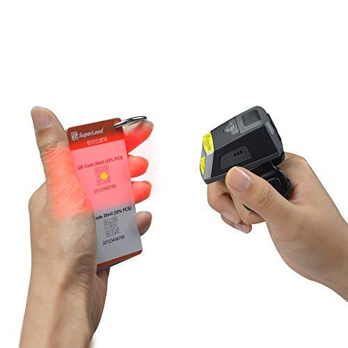 1D2D dedo inalámbrico Bluetooth dedo escáner de código de barras portátil IP65 EF02 (FS01/FS02) y 550 mAh batería reemplazable para logística y supermercado compatible con Android iOS