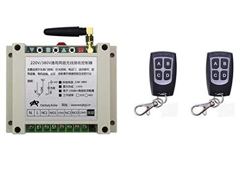 Calvas best home 30A AC220V 250V 380V 2CH RF Wireless Remote Control Switch System 2 transmitter +1 receiver for motor door pump