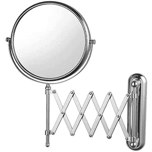 HUIXINLIANG Montaje de la Pared del Espejo de Maquillaje Iluminado con magnificación 5X, Extensible 360 rotación rotativa para el baño del Hotel (Size : 8 Inches)