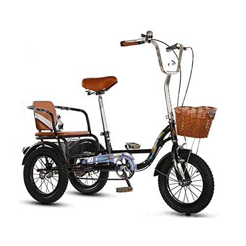 Triciclo per Adulti Biciclette A 3 Ruote 14 / 16inch Triciclo Adulto Triciclo Ad Alta Carbonio Telaio In Acciaio Al Carbonio A Tre Ruote Da Crociera Bici Con Sedile Posteriore E Cestino D(Size:16inch)