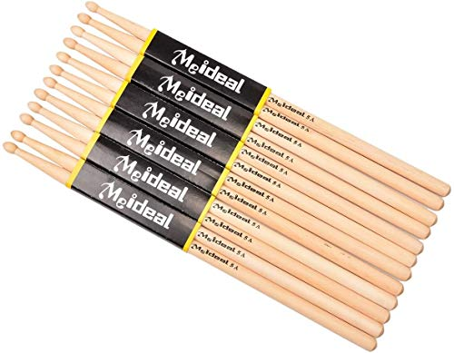 6 paia Drum Sticks 5A Wood Tip Drumstick, Student Drum Stick in legno d'acero