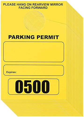 Juvale 500-Pack Parking Permit Hang Tag, Blank Temporary Numbered Parking Pass, Car Parking Management, Yellow, 3.15 x 4.75 inches