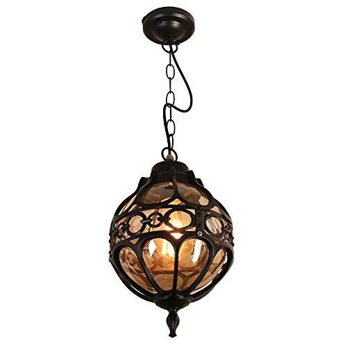 Mengjay Vintage Lámparas de Techo de Metal y Vidrio Araña Lámparas de Techo al Aire Libre Impermeables Antiguo Exterior Iluminación Colgante para Jardín Balcón Patio