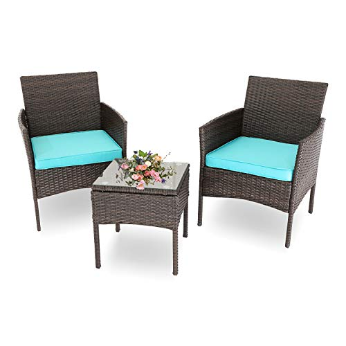BPTD Outdoor Patio Furniture Conversation 3 Piece Patio Set PE Rattan Patio Chairs with Glass Coffee Table and Cushions for Yard Porch Poolside Lawn (Dark Brown/Turquoise)