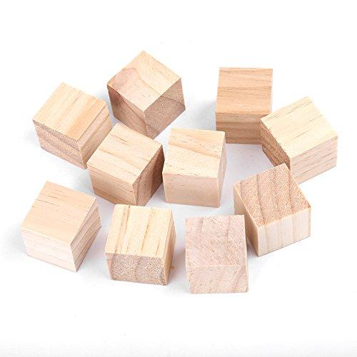 Akozon Cubos de Madera Manualidades 10MM/20MM/25MM Cubos Naturales de Madera de Pino Bloques Cuadrados para DIY Manualidades Fabricación de Rompecabezas