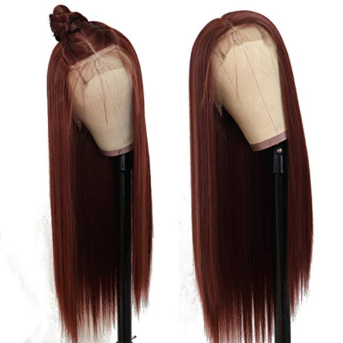 TaBeWay Synthetic Lace Front Wig Long Straight #13 Color Glueless Heat Resistant Free Part Synthetic Replacement Hair Wig For Women
