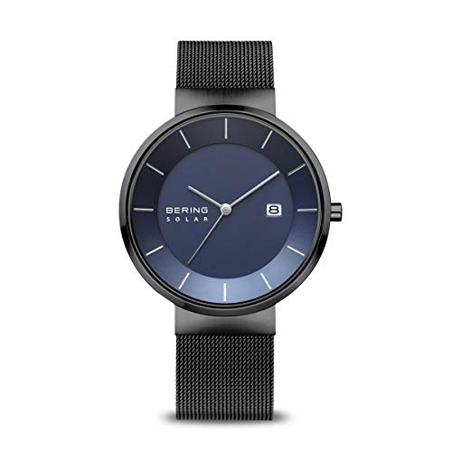 BERING Herren Analog Solar Uhr mit Edelstahl Armband 14639-227