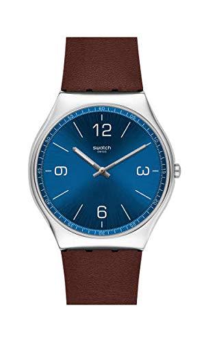 Swatch Herren Analog Schweizer Quarz Uhr mit Echtes Leder Armband SS07S101