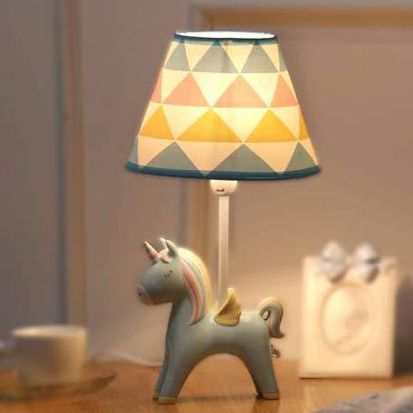 Lámparas de escritorio duraderas, para habitación de los niños, con dibujos animados, unicornio, lámpara de mesa de cerámica con un cono de colores claro (azul, A), tamaño A, color rosa