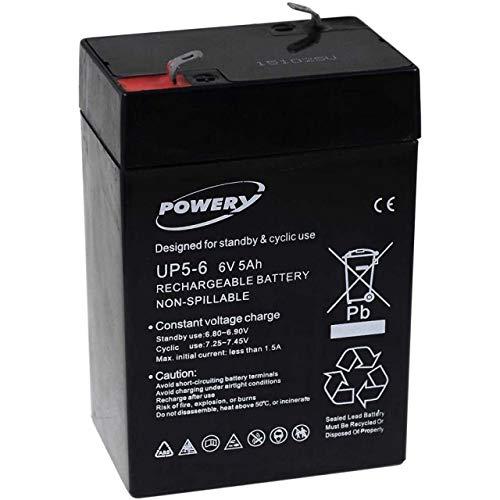Powery Batería de Gel para Montacargas SAI 6V 5Ah (Reemplaza también 4Ah 4,5Ah)
