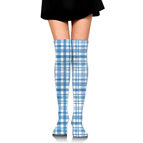 Unbekannt Hellblaue Aquarell-karierte Overknee-Strümpfe für Damen, für Cosplay, tägliches Tragen