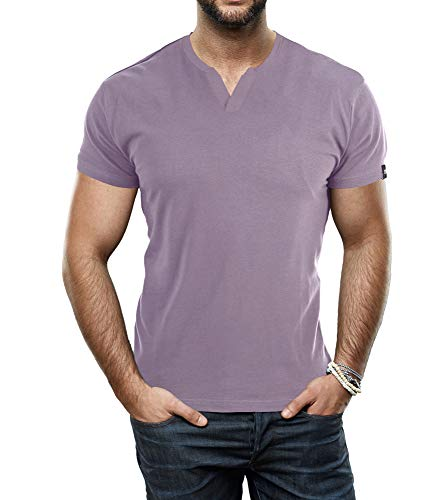 X RAY Men's Soft Stretch Cotton Short Sleeve Solid Color Slim Fit Slit V-Neck T-Shirt, Fashion Casual Tee for Men Dusty Lavender