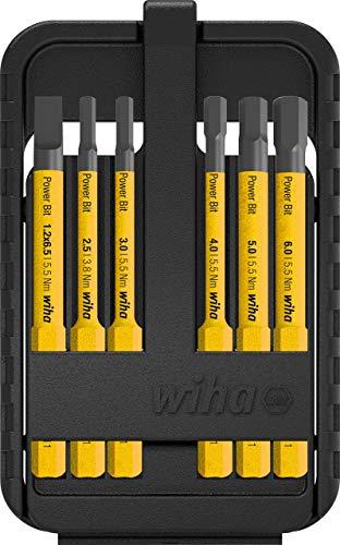 Wiha Bit Set Power slimBit für Elektriker (44107), gelbe Bits für speedE, lange und dünne Bits, Schlitz/Innensechskant, 6 teilig in Box