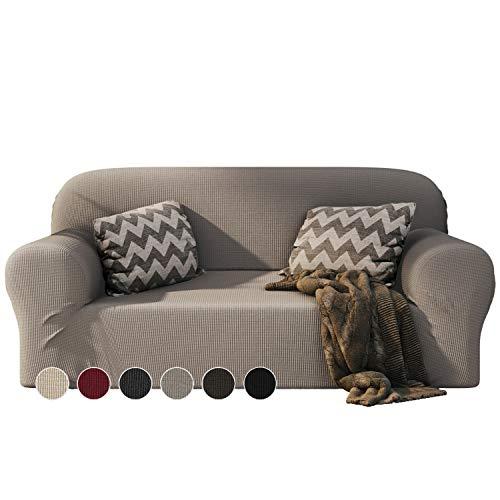 Dreamzie - Sofabezug 2 Sitzer Elastische - Flachs - Oeko-TEX® - Sofa Überzug Dehnbarer aus Recycelter Baumwolle - Made in Europe