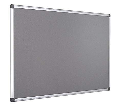 Bi-Office Filztafel Maya, Mit Aluminiumrahmen, Graue Filzoberfläche, Zum Gebrauch Mit Pinnnadeln, Pinnwand, 90 x 60 cm