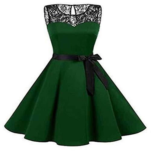 N\P Vestido de encaje completo sin mangas para mujer, cuello redondo, banda de dama de honor, vestido de banquete de boda