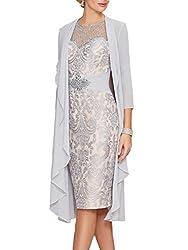 Sliver Gray Echo Lace Dress With Rhinestone Belt & Chiffon Jacket