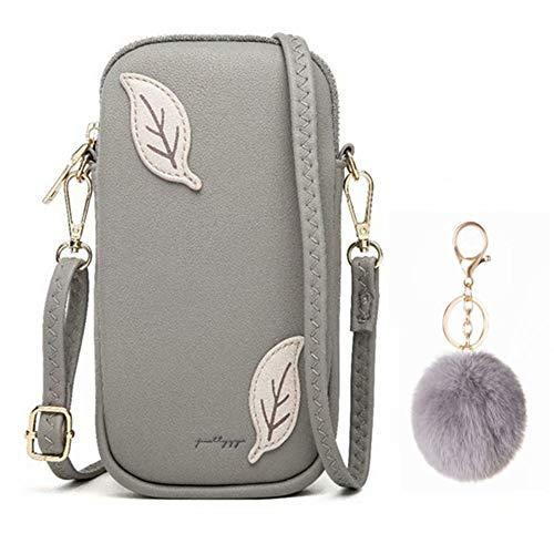 Flywill Kleine Crossbody Tasche Handytasche Brieftasche mit Credit Card Slots für frauen, Mobile Phone Shoulder Bag Fashion Women's Shoulder Bag, Grau
