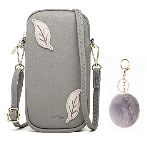 Flywill Pequeño bolso cruzado con ranuras para tarjetas de crédito, para mujeres, teléfono móvil, bandolera, bolso de hombro, gris (Gris) - XieKuaBao-P-Hui+ HuiQiu