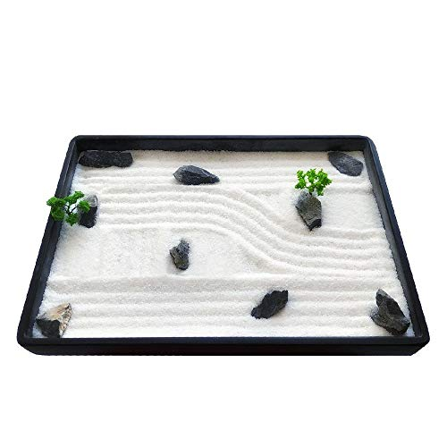 ICNBUYS Mini Zen Garden, Green Pine Trees and Blue Gragon Stones with Free Tray, Sand, Rake, Drawing Pen, Pushing Sand Pen and Zen Garden Drawing Guide Dimensions 7.9 x 5.5 x 0.4 inches