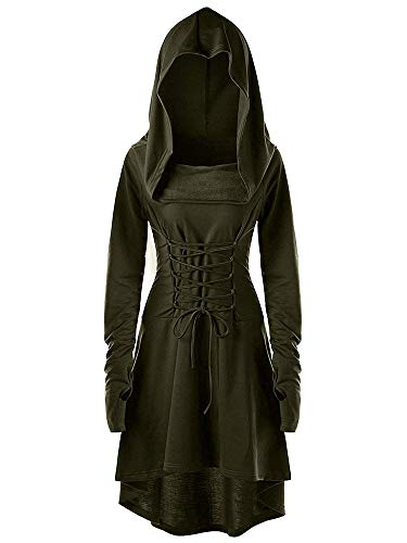 leyay Womens Renaissance Costumes Hooded Robe Vintage Lace Up Pullover Long Hoodie Cosplay Dress Cloak Army Green