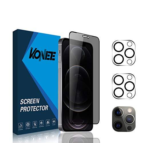 KONEE [1 + 2 Piezas] Protector de Pantalla de Privacidad + 2 Piezas Protector de Lente de Cámara Compatible con iPhone 12 Pro 6.1', Anti Espía Anti-arañazos Cristal Templado para iPhone 12 Pro 6.1'
