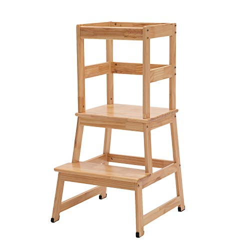 Kids Kitchen Step Stool with Safety Rail Children Learning Stool Tower