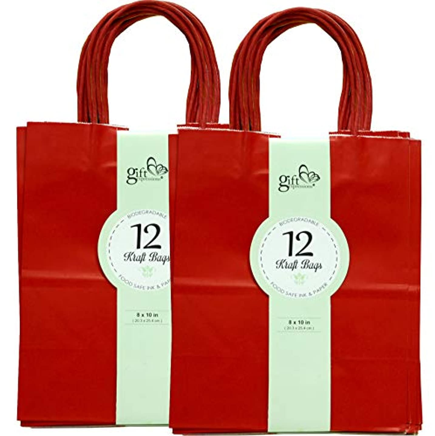 24CT MEDIUM RED BIODEGRADABLE, FOOD SAFE INK & PAPER, PREMIUM QUALITY PAPER (STURDY & THICKER), KRAFT BAG WITH COLORED STURDY HANDLEs (Medium, Red)