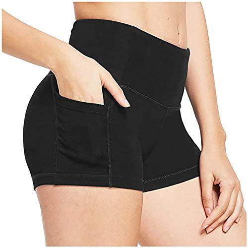 FONMA Women High Waist Shorts Yoga Pants Side Cell Phone Pockets Sports Leggings Pants Black