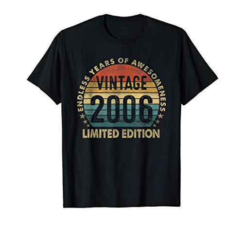 Vintage 2006 15th Birthday Gift Retro Boy Girl 15 Yrs Old T-Sh