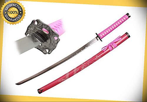 "39"" Single Pink Dragon engraved Katana Samurai Fighter Sword Carbon Steel Ninja perfect for cosplay outdoor camping"