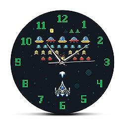 N /A Wall Clock Vintage Video Game Space Alien Invader Pixel Spaceship Kids Living Room Wall Clock Arcade Video Game Printed Acylic Wall Clock for Office School Kids Room