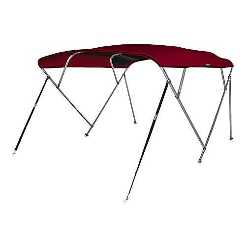 """MSC 4 Bow Bimini Boat Top Cover with Rear Support Pole and Storage Boot, Color Grey, Burgundy,Navy,Beige Available (Burgundy, 4 Bow 8'L x 54"""" H x 85""""-90"""" W)"""