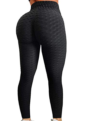 CROSS1946 Sexy Women's Textured Booty Yoga Pants High Waist Ruched Workout Butt Lifting Pants Tummy Control Push Up #1 Texture Black,L