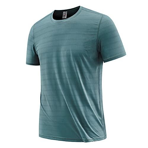 FOTBIMK Camisetas Para Hombres Casual Suelto Manga Corta Raya Camiseta Moda Verano Transpirable De Secado Rápido T-shirt Azul Oscuro