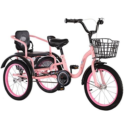 Triciclo para Adultos Bicicleta Bicicletas De Bicicletas De 3 Ruedas para Niños para Niños, Niñas, Bicicletas De Tres Ruedas con Cesta para Niños De 2 A 12 Años.(Size:18 Inch,Color:Rosa)