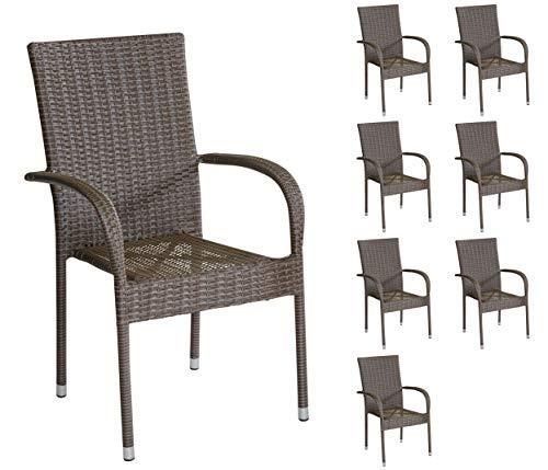 8er Set Armlehnstühle Stapelstühle Gartenstühle in braun mit Armlehnen exkl. Auflage stapelbar für Garten, Terrasse, Balkon oder Bistro - Gartenmöbel Stühle Terrassenstuhl Balkonstuhl Stuhl Gastro