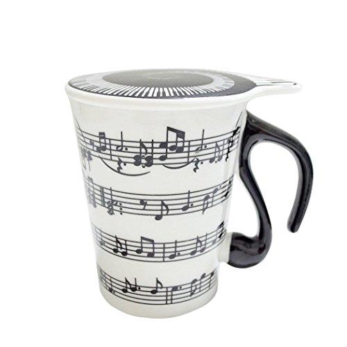 Binnan Keramik Musik Becher,Weiß Kaffeetasse Musik Tasse mit Deckel und Bass förmigen Griff