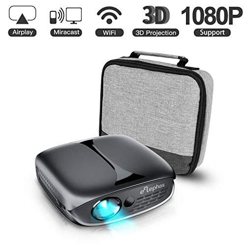 ELEPHAS Mini Portable Projector Wifi DLP HD Pico 3D Video Pocket Projector Supports 1080p HDMI USB Built-In YouTube Koala Apps Rechargeable Battery, Ideal for Home Cinema and Outdoor Entertainment