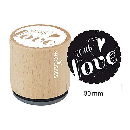 Woodies stempel met liefde 1 ø 30 mm, hout bruin, 5 x 5 x 5 cm