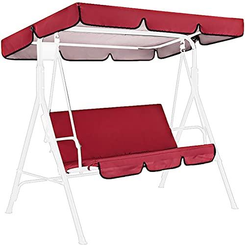 Beesuya wasserdichte Terrasse Swing Chair Canopy Cover Set Ersatzstaubfest 3 Personen Swing SeatKissenbezug mit UVSchutzBaldachin für Terrasse im Freien stylish