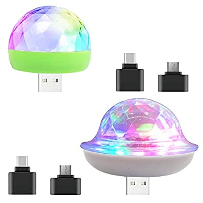 AFUNTA 2pcs USB Lights Mini Disco Balls with Type C to USB and Micro to USB Adapter, LED Small Magic Ball Colorful Light for Party/Birthday/Club/Karaoke Decoration, Compatible Smart Phones