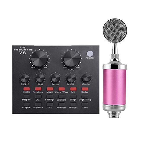 USB Audio Interface bundel Audio Box, Bluetooth Audio Adapter Powered Audio Mixer met Microfoonstandaard koptelefoons voor Streamers Gamers Podcasters,Pink