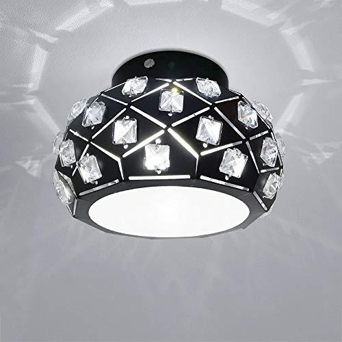 Plafoniere in cristallo, piccola lanterna a plafoniera nera, plafoniera a LED da 7W per corridoio da cucina